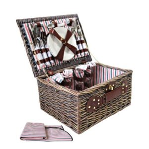 4 Person Cane Picnic Basket