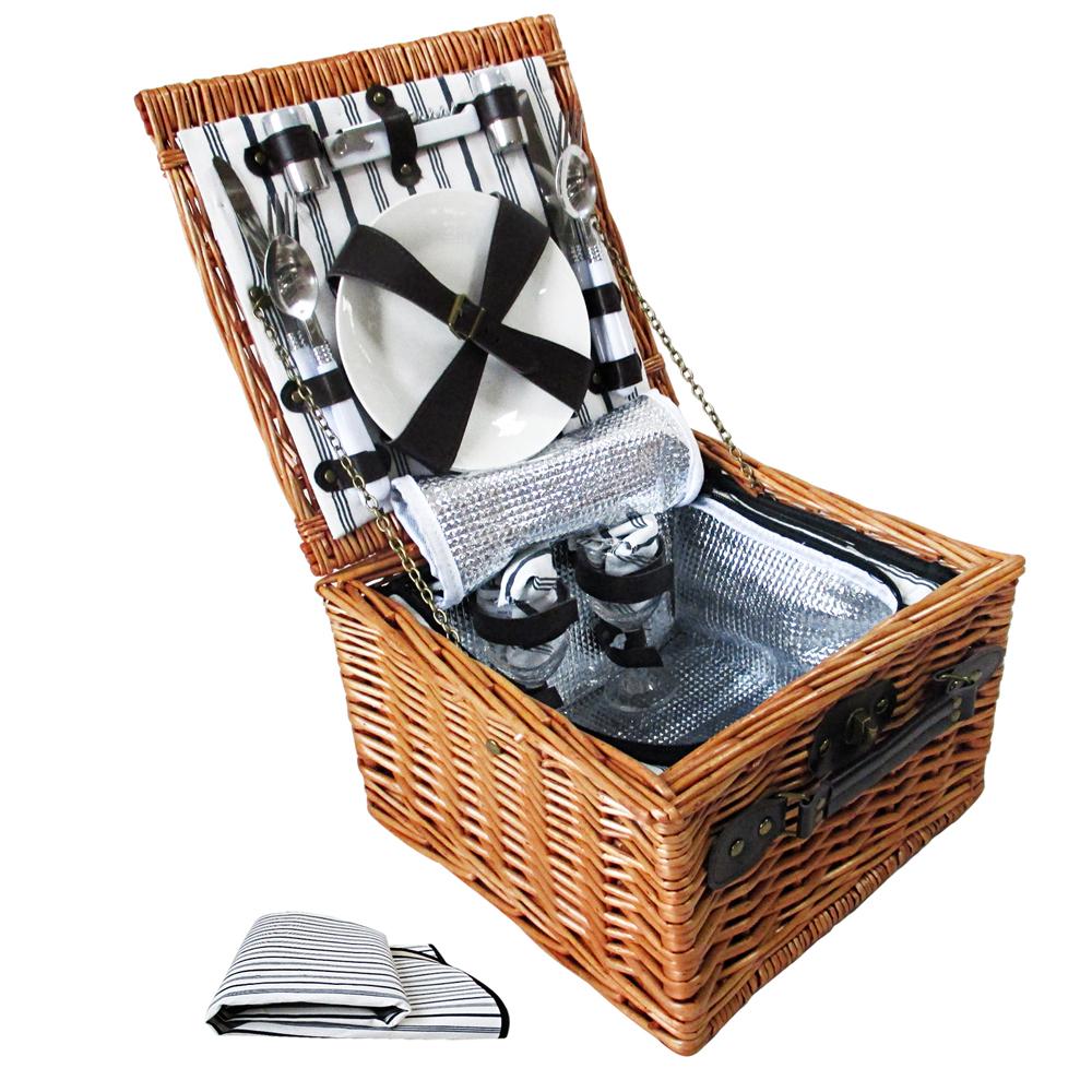 2 Person Luxury Picnic Basket Set W Cooler Bag Blanket