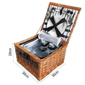 2 Person Luxury Picnic Basket Set w/ Cooler Bag & Blanket