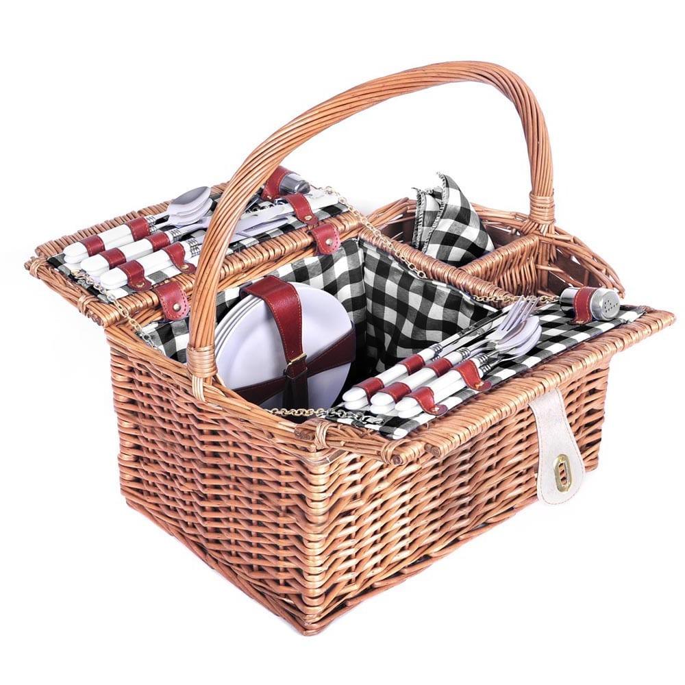 4 Person Willow Picnic Basket Set W Black Blanket