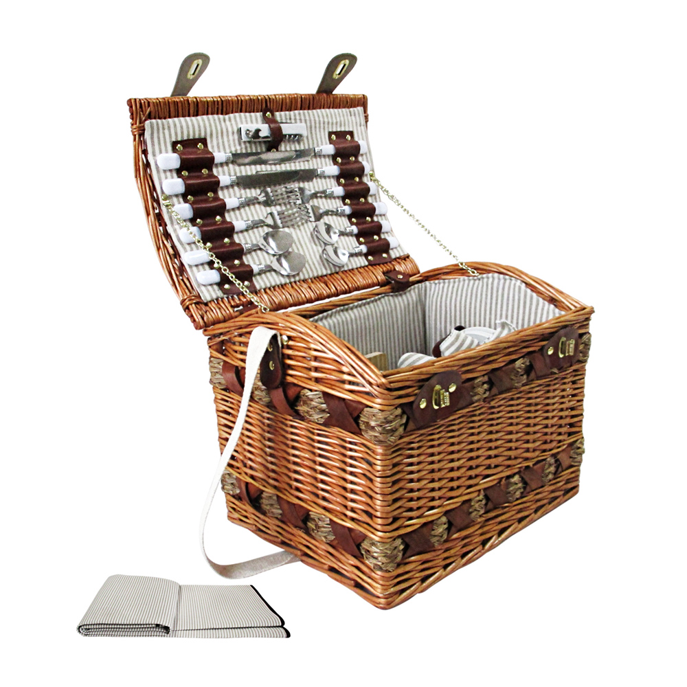 4 Person Vintage Picnic Basket Set W Cheese Board Blanket