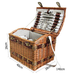 4 Person Vintage Picnic Basket Set w/ Cheese Board & Blanket