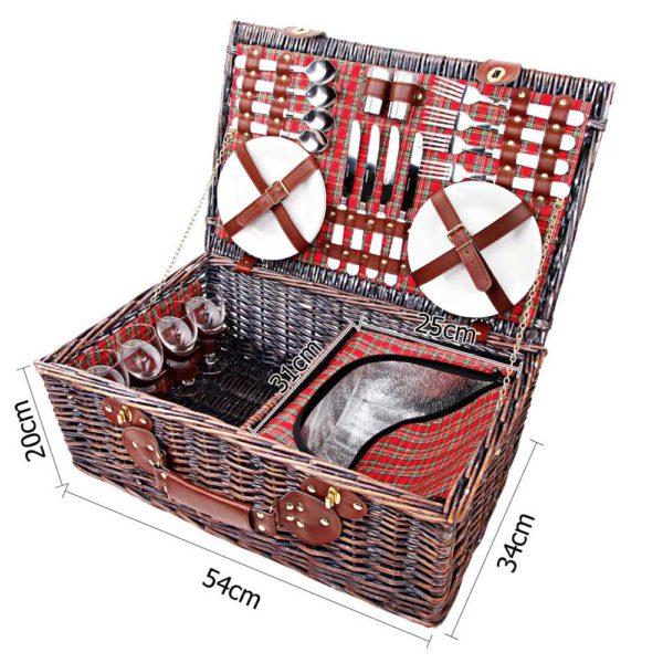 4 Person Insulated Picnic Basket Set w/ Cooler Bag & Blanket