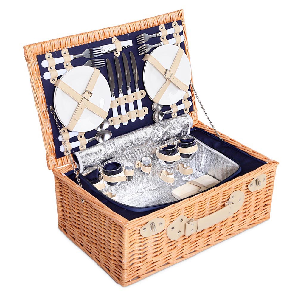 Picnic Basket Set Australia : Large picnic basket with cooler navy blanket