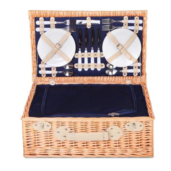 4 Person Wicker Picnic Basket Set w/ Cooler Bag & Blanket