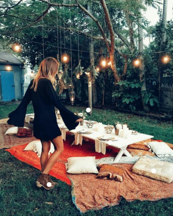 Extravagant backyard picnic set-up.