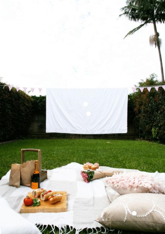 A backyard movie night set-up.